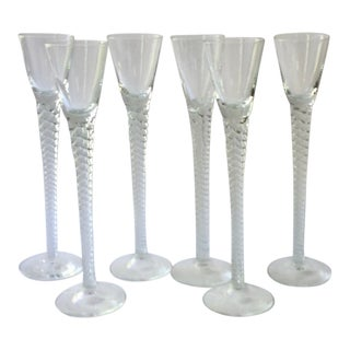 1920s Vintage French Crystal Wine Glasses - Set of 6