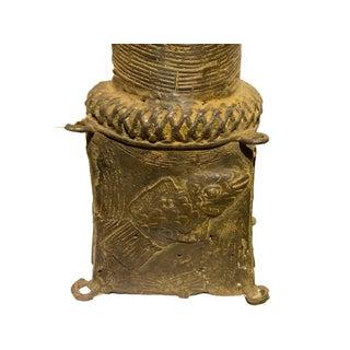 "Lg Benin Bronze Head of King Oba Nigeria African 32.25"" H Preview"