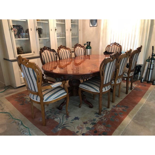 Golden Walnut Dining Room Set With Italian Hand Painted Design