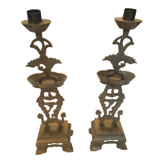 20th Century Chinese Brass Candlesticks - a Pair For Sale