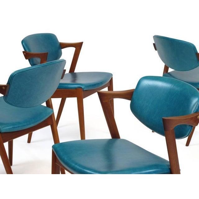 Kai Kristiansen Six Kai Kristiansen Teak Danish Dining Chairs in Turquoise Leather, 20 Available For Sale - Image 4 of 11