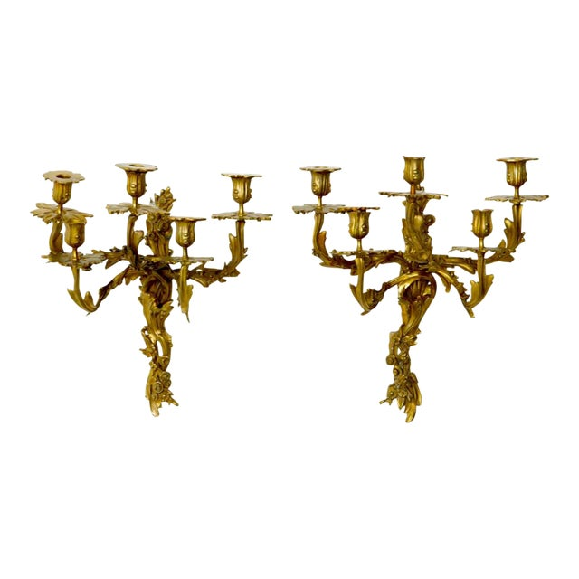 Louis XV Style Five Branch Rocaille Wall Lights - a Pair For Sale