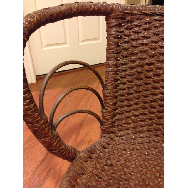 Metal Mfg Vintage Child's Rocking Chair - Rush Weaving - Excellent Condition For Sale - Image 7 of 11