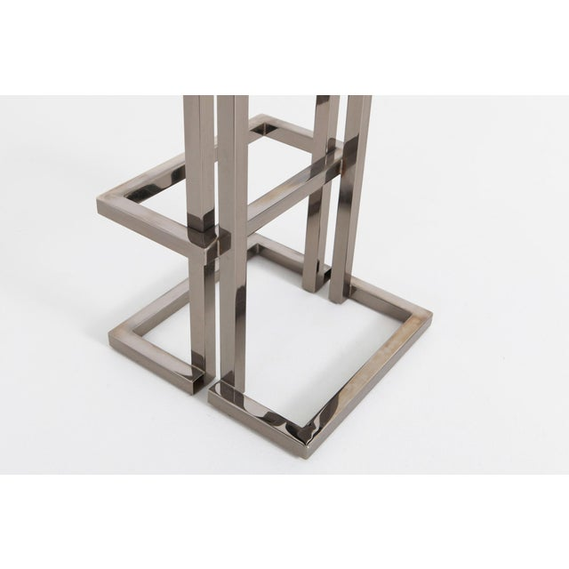 Metal Maison Jansen Chrome and Black Leather Bar Stools For Sale - Image 7 of 9