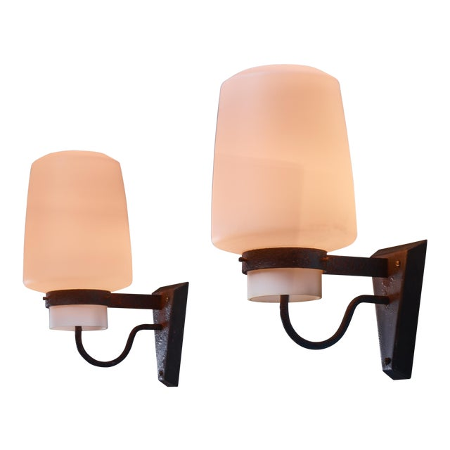 Georges Candilis Pair of Metal and Glass Sconces, France, 1960s For Sale
