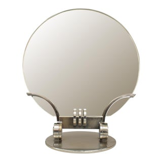 French Art Deco Chrome Plated Dressing Table Mirror For Sale