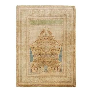 "Late 19th Century Persian Tabriz Silk Rug - 4'2"" X 5'9"" For Sale"