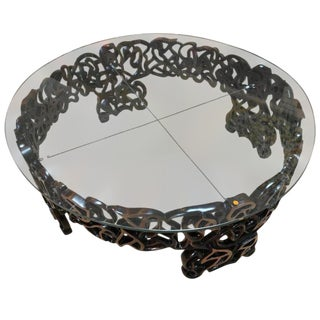 Hand-Carved Walnut Round Coffee Table by Doug Edge For Sale