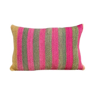 Kim Salmela Modern Striped Peruvian Kilim Lumbar Pillow For Sale