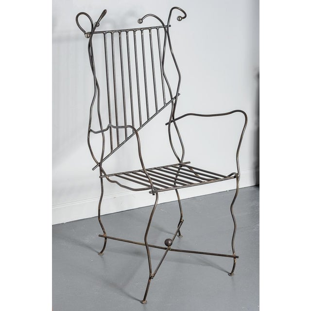 Modern Sculptural Iron Chair Hand Made by Unknown Artist For Sale - Image 11 of 11