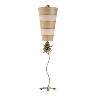 Anemone Table Lamp With Striped Shade, Gold and Silver For Sale