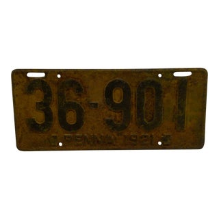 "Vintage Metal Automobile License Plate 1921 PENNA - ""36-901"" For Sale"