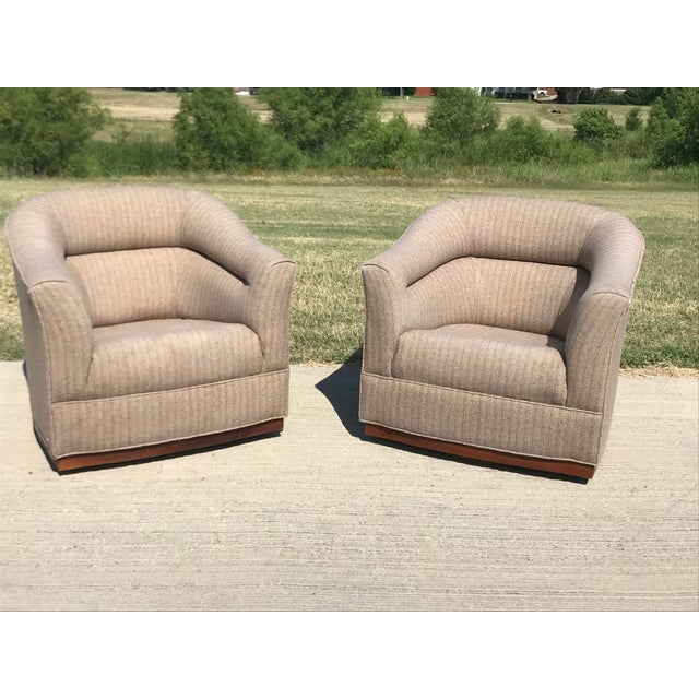 Mid-Century Modern Swivel Club Chairs Wood Plinth Base - a Pair For Sale - Image 4 of 13
