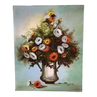 Vintage Vibrant Floral Painting on Canvas For Sale