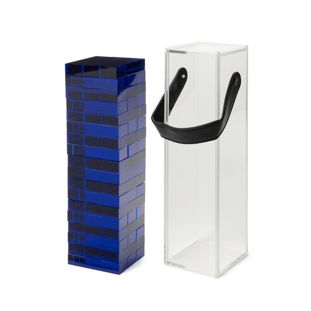 Modern Blue Acrylic Tumble Tower Set in Clear Case with Handle For Sale - Image 3 of 5