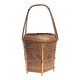 Signed Japanese Flower Basket For Sale