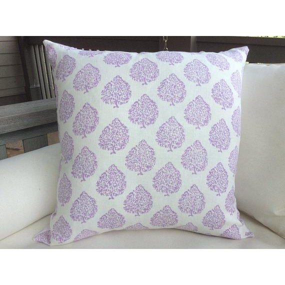 "John Robshaw Fabric ""Mali"" in Lavender Pillows - a Pair - Image 2 of 3"