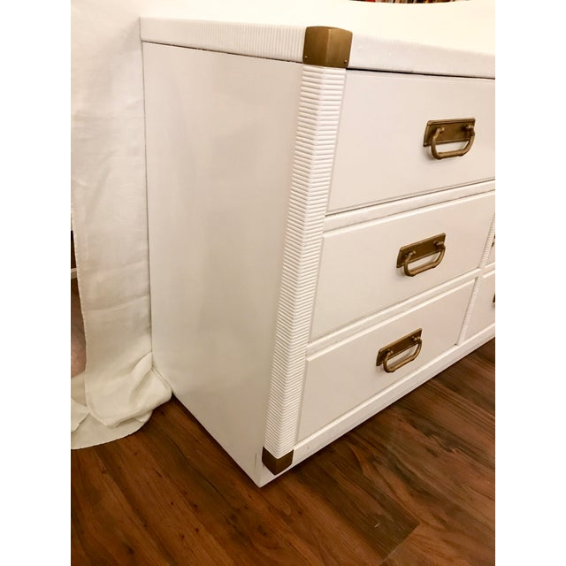 Gold Lacquered Campaign Credenza by Drexel For Sale - Image 8 of 9