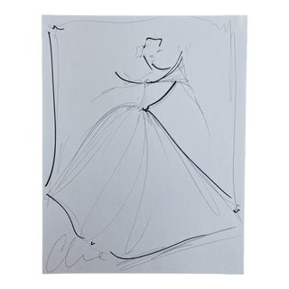 """White Flutter Sleeve Ball Gown"" Original Christian Siriano Sketch For Sale"