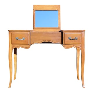 Vintage French Provincial style Maple Writing Desk Dressing Table Vanity Flip Up Mirror