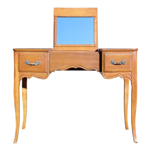 Vintage French Provincial Style Maple Writing Desk Dressing Table
