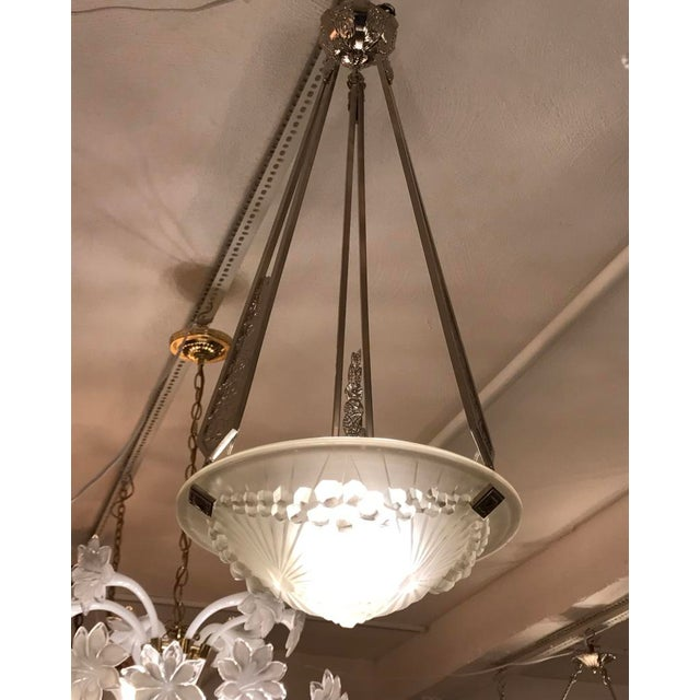 Charles Schneider French Art Deco Geometric Chandelier Signed by Schneider For Sale - Image 4 of 10