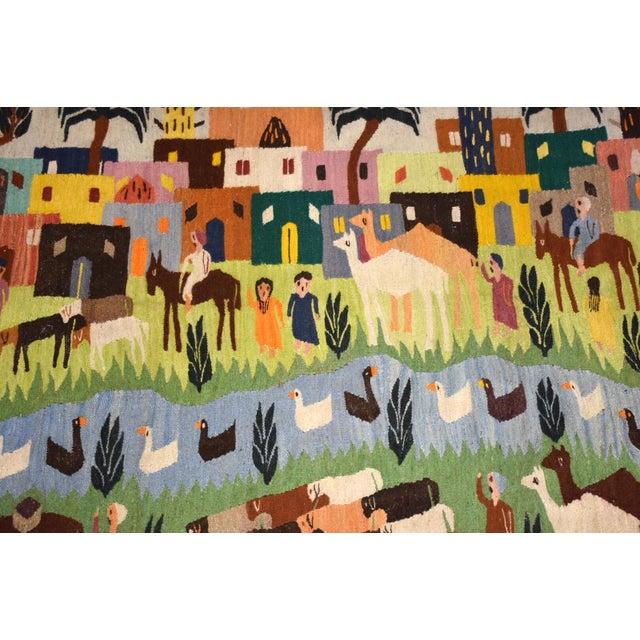 Handmade Wool Kilim Tapestry Rug For Sale In Boston - Image 6 of 10