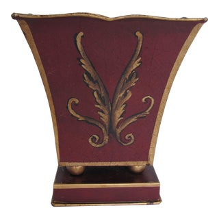 Burgundy and Gold Toleware Planter For Sale