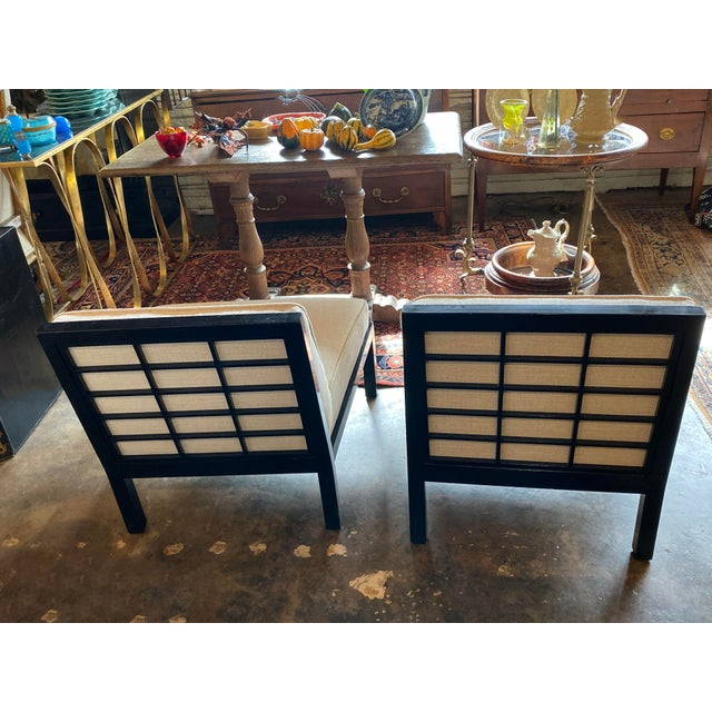 Ebony Mid Century Asian Modern Black Slipper Chairs - a Pair For Sale - Image 8 of 11