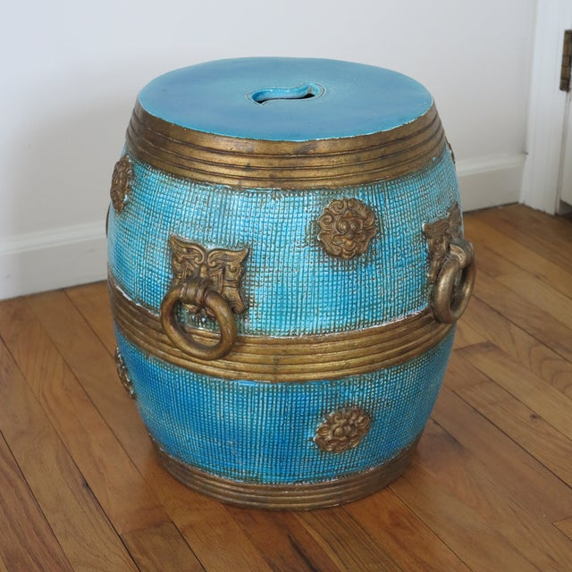 1950s Vintage Ugo Zaccagnini Ceramic Pottery Chinoiserie Garden Stool For Sale - Image 12 of 13