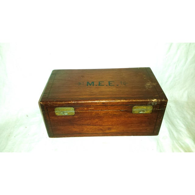 Antique Dove Tailed Wooden Cigar Humidor Box - Image 2 of 11