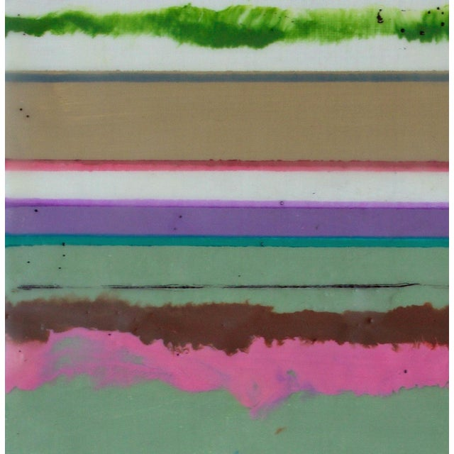 """2010s Original Encaustic Mixed Media Painting by Gina Cochran """"Confections No. 34"""" - Stripes For Sale - Image 5 of 9"""