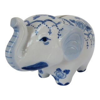 Vintage Blue & White Chinoiserie Elephant Bank For Sale