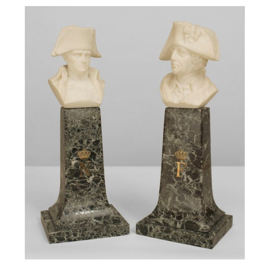 Pair of 19th C. Continental Alabaster Busts of Napoleon & Frederick the Great For Sale - Image 4 of 4
