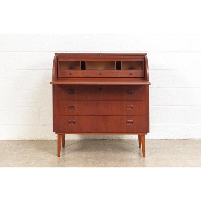 1970s Mid Century Swedish Egon Ostergaard Rolltop Secretary Desk For Sale - Image 5 of 11