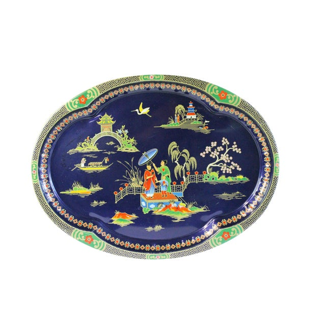 Chinoiserie Steel Serving Tray - Image 1 of 3