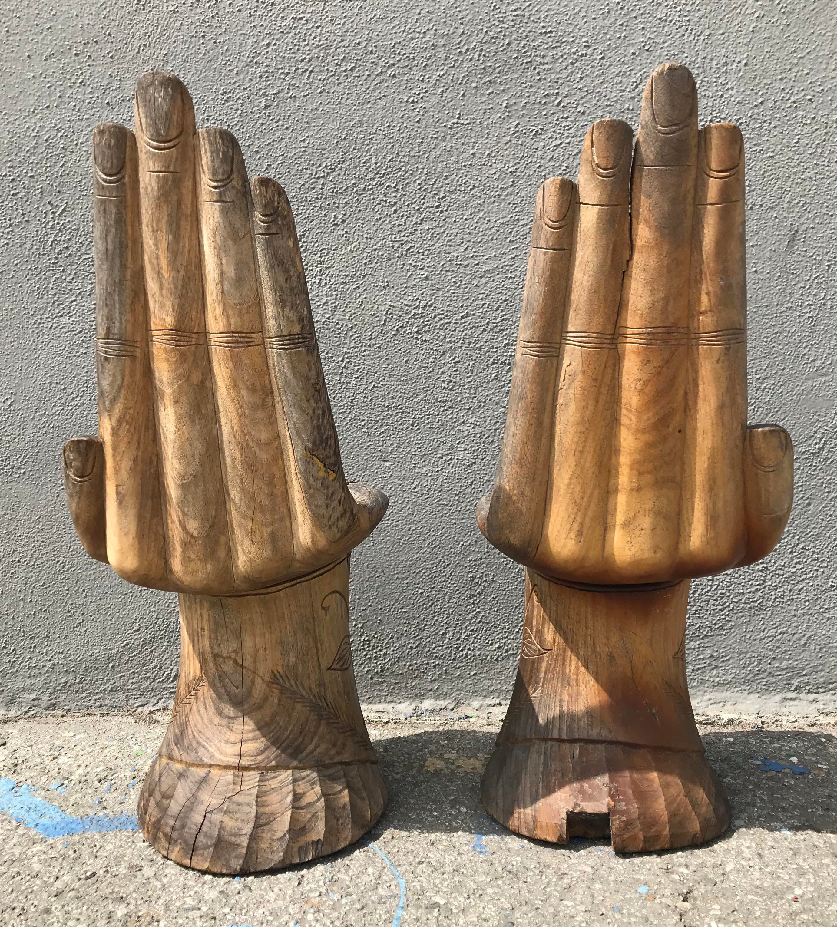 Vintage Hand-Carved Wooden Small Hand Chairs - A Pair - Image 9 of 13 & Vintage Hand-Carved Wooden Small Hand Chairs - A Pair | Chairish