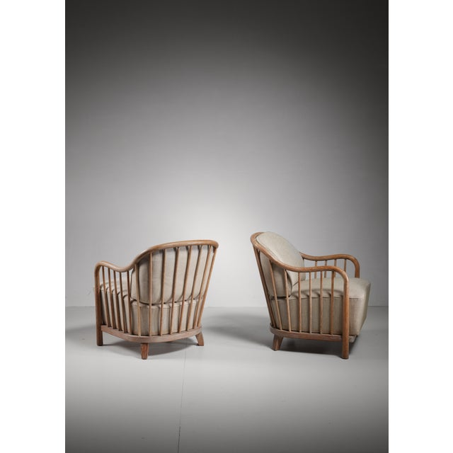 Pair of spindle lounge chairs from Italy, 1930s - Image 5 of 5