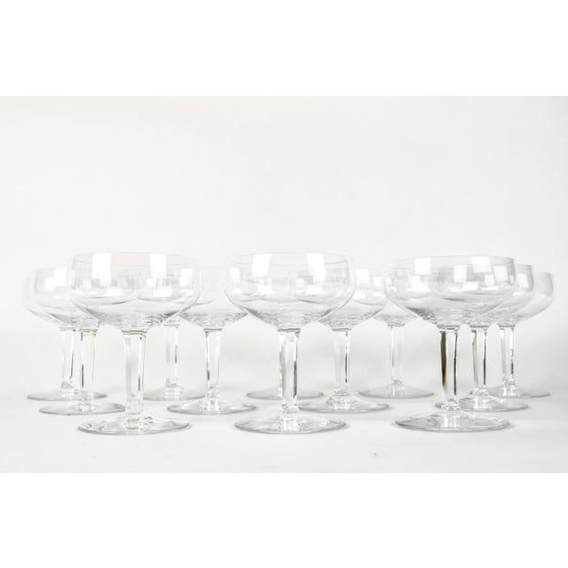 Glass Vintage Set 12 Baccarat Crystal Champagne Coupes For Sale - Image 7 of 7