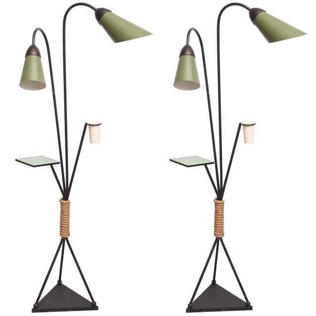 Cool pair of floor lamps with tile shelf and ceramic bud vase. Shades are aluminum and base is iron, USA, 1970s.