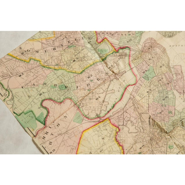 Paper Antique Folding Map of City of Boston and Its Environs 1874 For Sale - Image 7 of 11