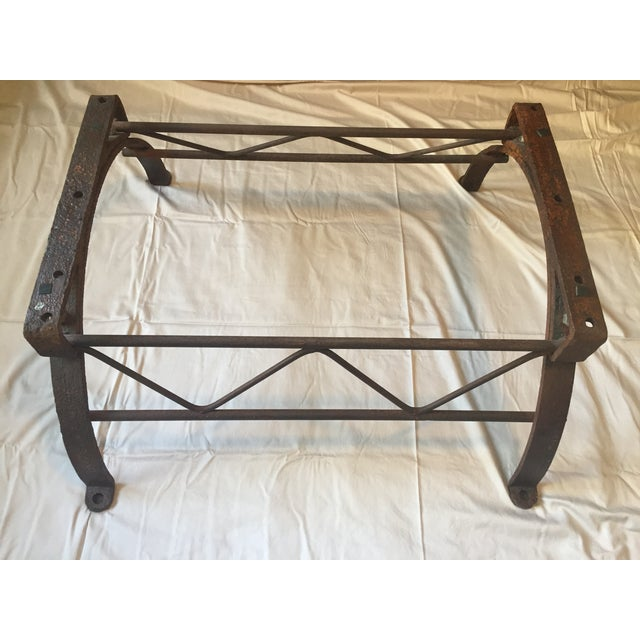 Repurposed Iron Barrel Holder Glass Top Table - Image 3 of 7