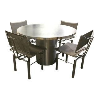 1970s Vintage Modern Steel Dining Set - 5 Pieces For Sale