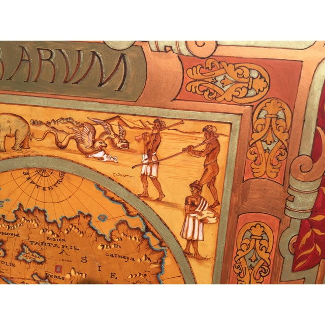 """Large Hand Painted Map of the World 1613 Nova Totivs Terrarvm 64"""" For Sale - Image 5 of 9"""