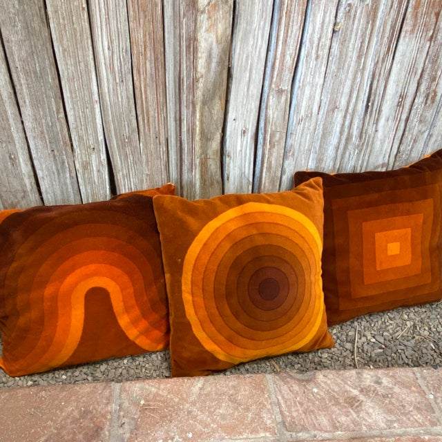 Mid-Century Modern Verner Panton Velour Pillows - Set of 3 For Sale - Image 11 of 13