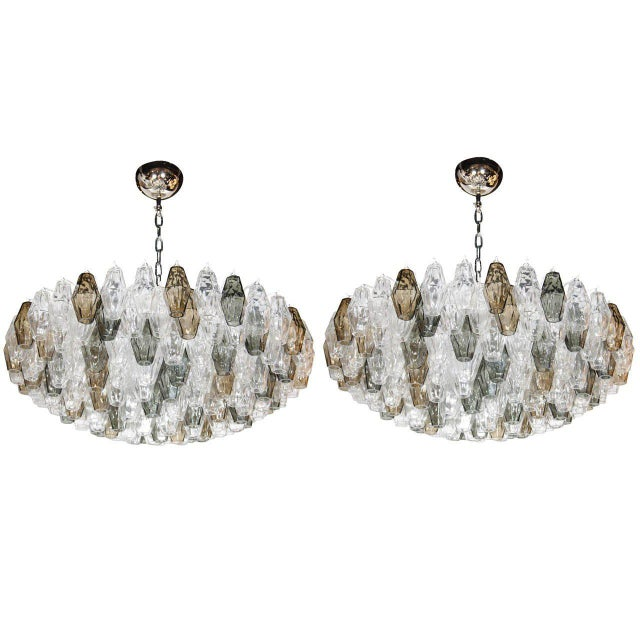 Silver Pair of Spectacular Handblown Murano Glass Polyhedral Chandeliers by Venini For Sale - Image 8 of 8