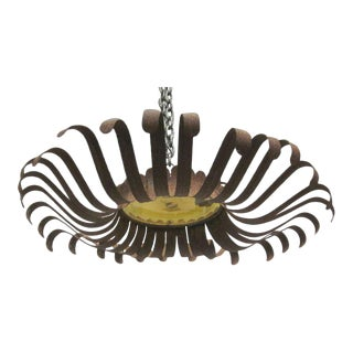 Unique Italian Rustic Sunburst Form Flush Mount / Pendant with Murano Glass