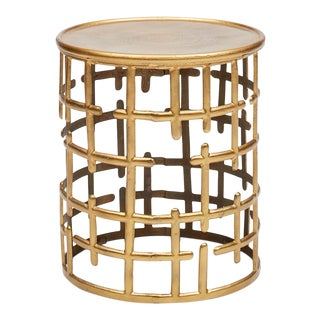 Kiaan Brass Finish Side Table For Sale