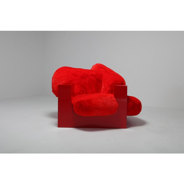 'Pillow Lounge Chair' in Red Lacquer and Faux Fur by Schimmel & Schweikle For Sale - Image 6 of 11