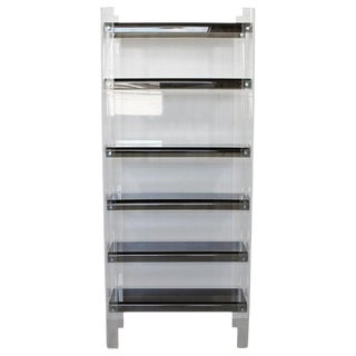 Milo Baughman Mid-Century Modern Smoked Lucite Shelving Unit Bookcase Étagère For Sale